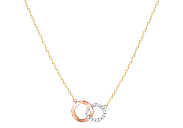 9ct Three Colour Gold Double Ring Necklace