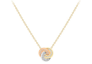 9ct Three Colour Gold Crystal Knot Necklace
