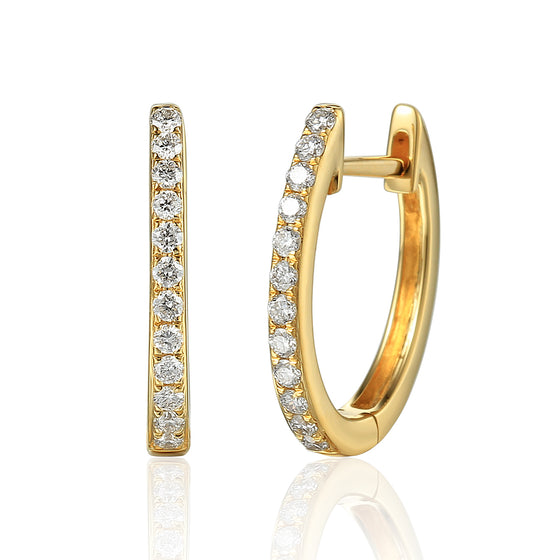 18ct Yellow Gold Diamond Sleeper Hoop