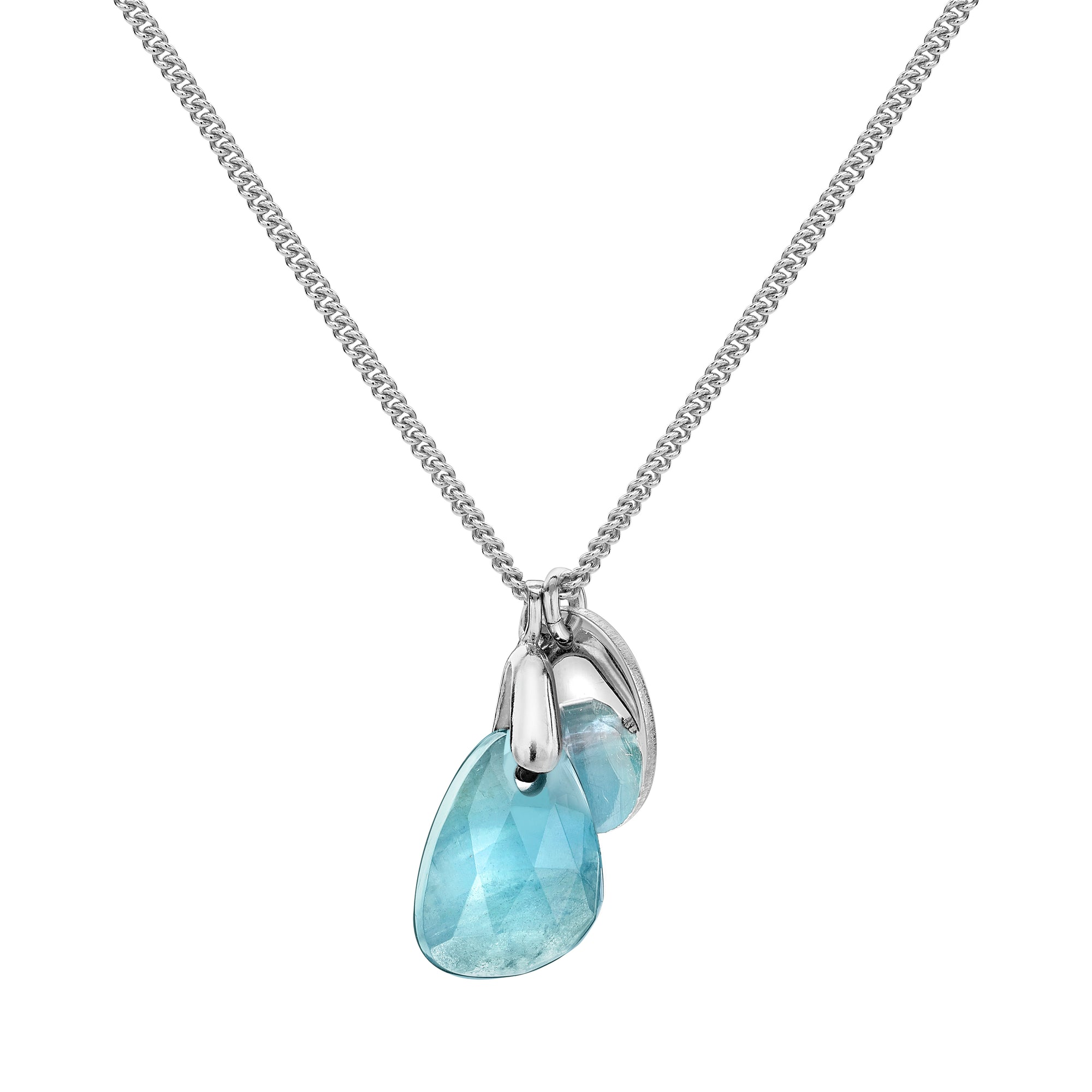 Aura Aqua Rose Cut Necklace
