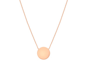 9ct Rose Gold plain disc with chain