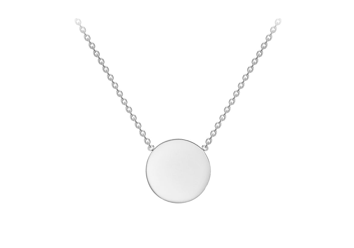 9ct White Gold plain disc with chain