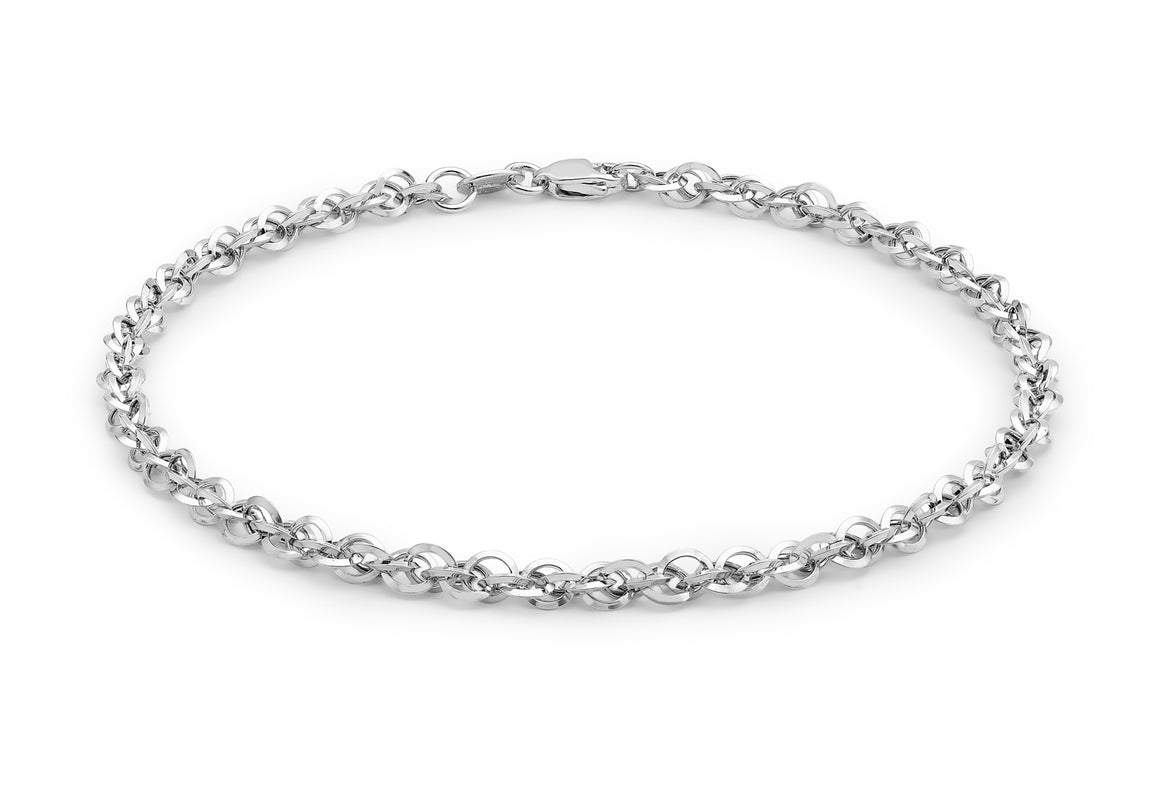 9ct White Gold Fine Chain Bracelet