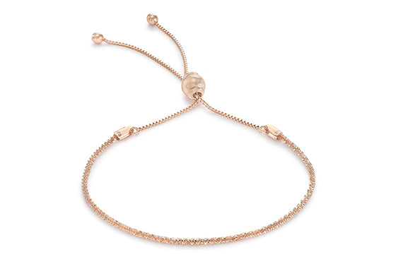 9ct Rose Gold Diamond Cut Adjustable Bracelet