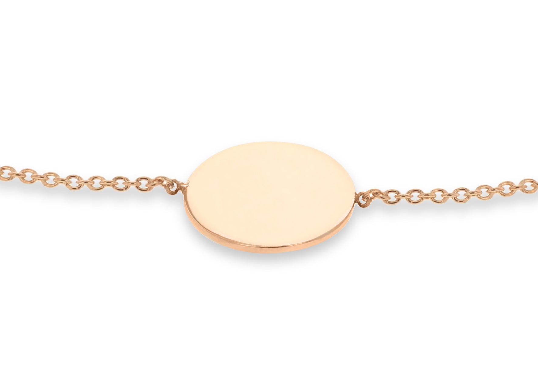 9ct Rose Gold Round Disc Bracelet
