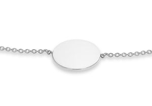 9ct White Gold Round Disc Bracelet