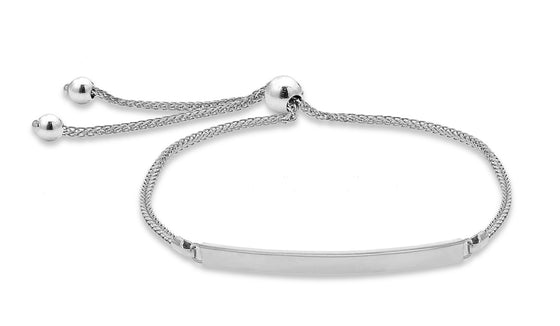 9ct White Gold Bar Tassle Bracelet