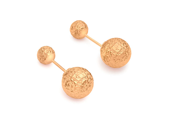 9ct Rose Gold Diamond Cut Double Ball Stud Earring