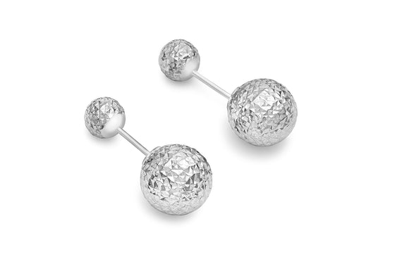 9ct White Gold Diamond Cut Double Ball Stud Earring