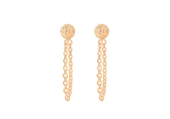 9ct Rose Gold Stud Earrings with Drop Chain