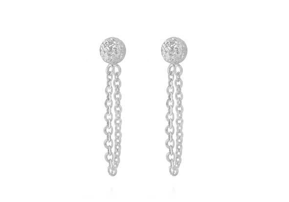 9ct White Gold Stud Earrings with Drop Chain