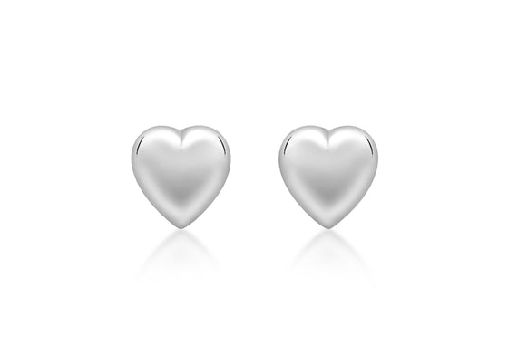 9ct White Gold Puffed Heart Stud