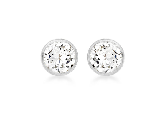 9ct White Gold Rubover Crystal Studs