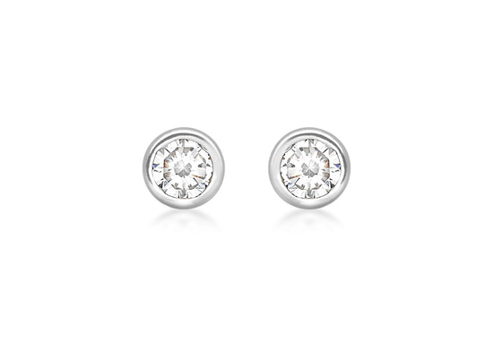 9ct White Gold 3mm Cubic Zirconia Rubover Studs
