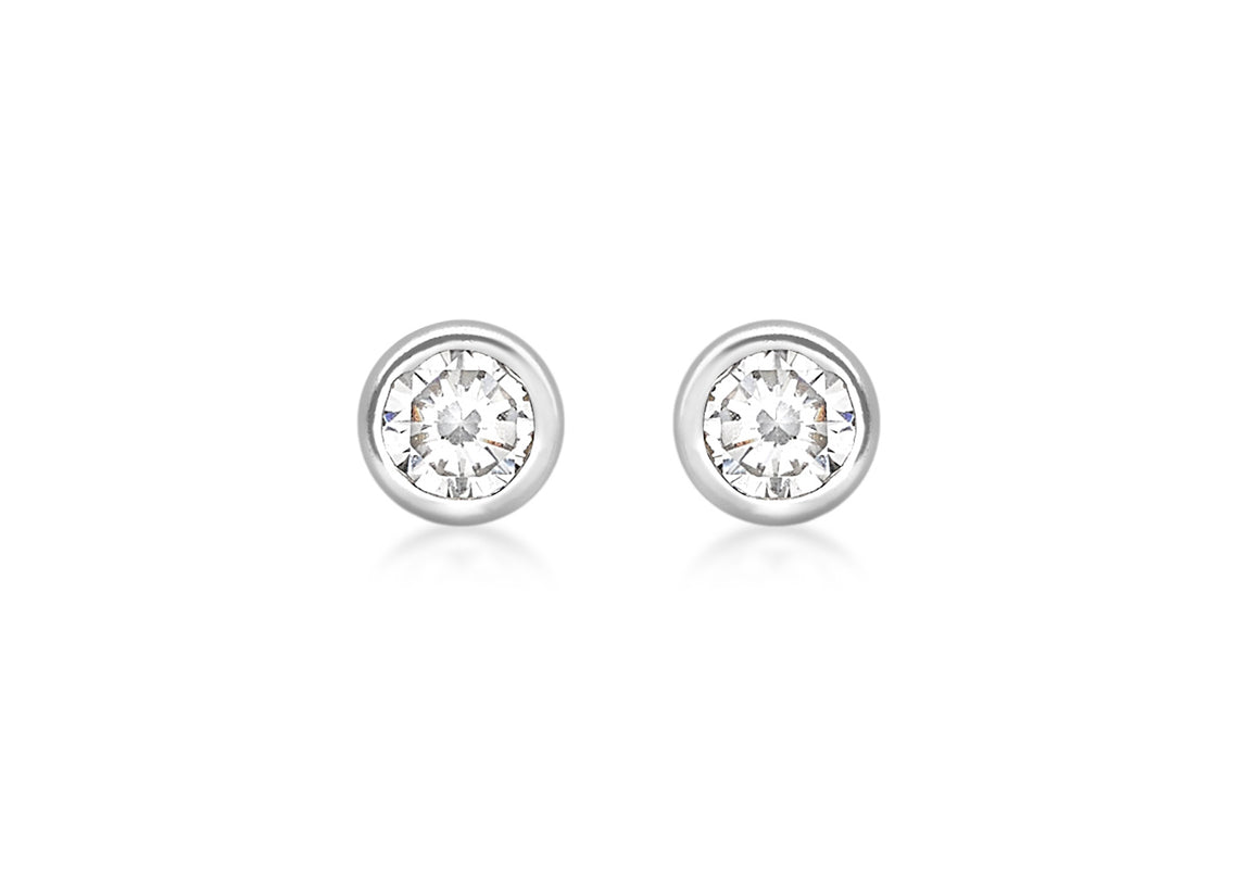 9ct White Gold Rubover Stud Earrings with Channel Set Crystal Detail