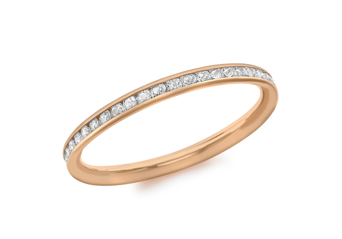 9ct Rose Gold Channel Set Cubic Zirconia Ring