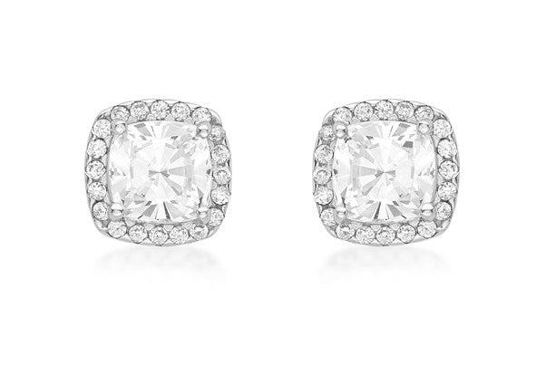 9ct White Gold Cluster Earrings