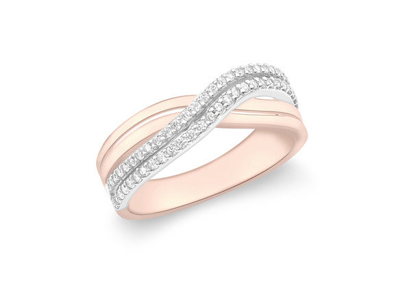 9ct Rose Gold Crossover Double Row Crystal Ring