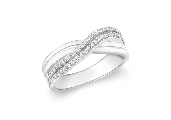 9ct White Gold Crossover Double Row Crystal Ring