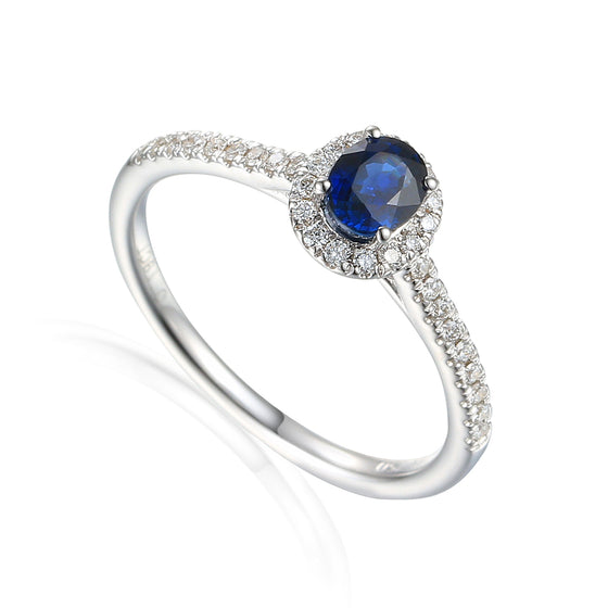 Fine Sapphire and Diamond White Gold Ring