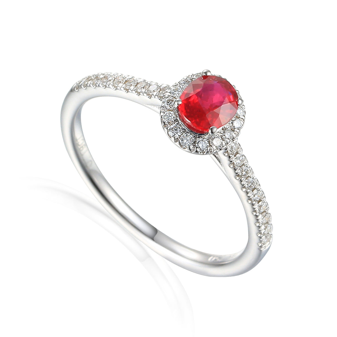 Fine Ruby and Diamond White Gold Ring