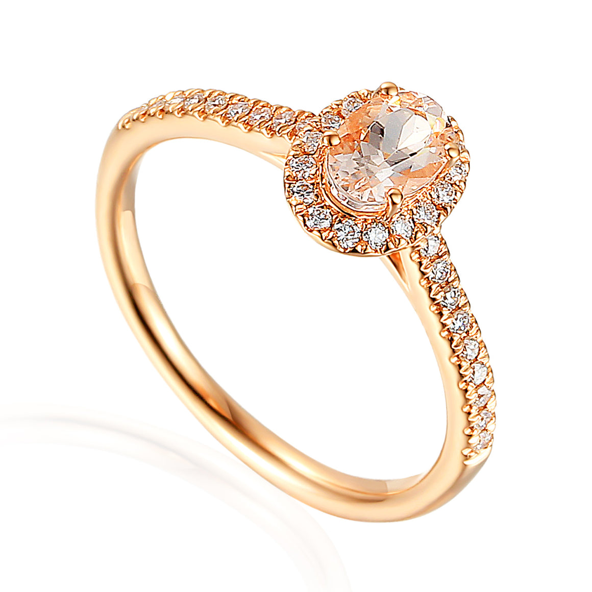 Fine Morganite and Diamond Rose Gold Ring