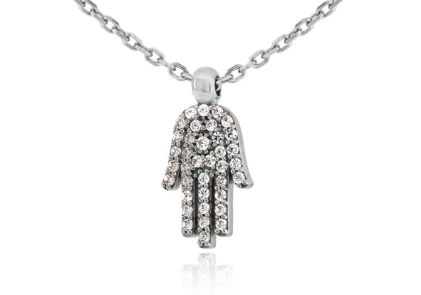 Sterling Silver and Crystal Hamsa Necklace