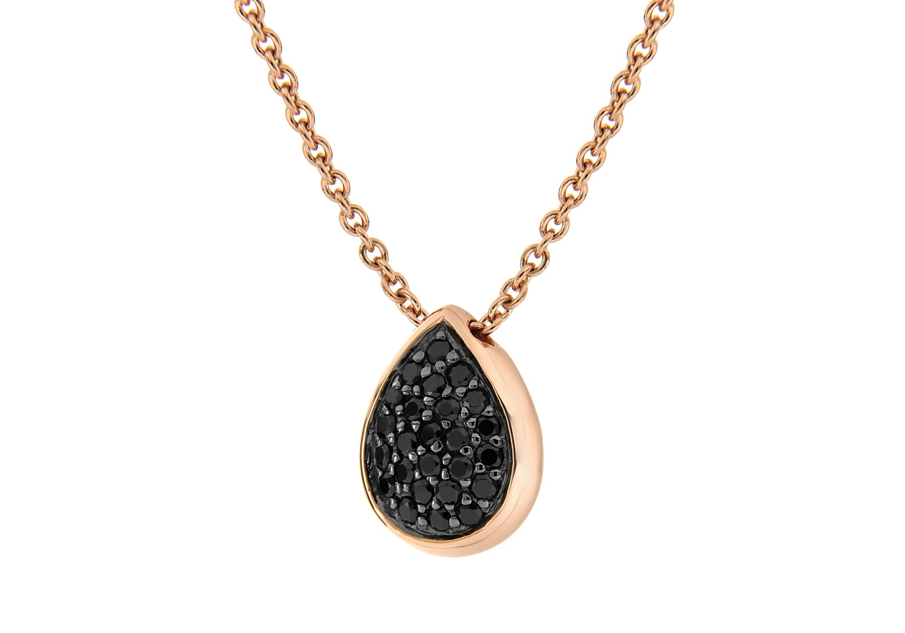 Rose Gold Plated Pave Black Cyrstal Pear Shape Pendant