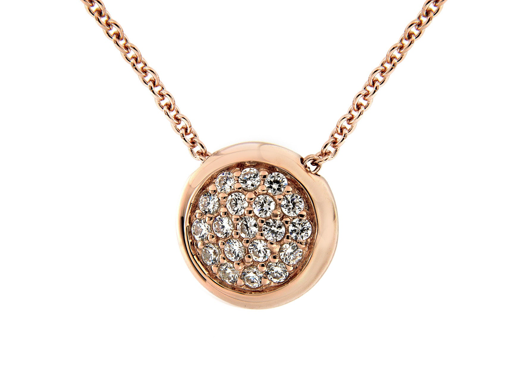 Rose Gold Plate Pave Disc Pendant
