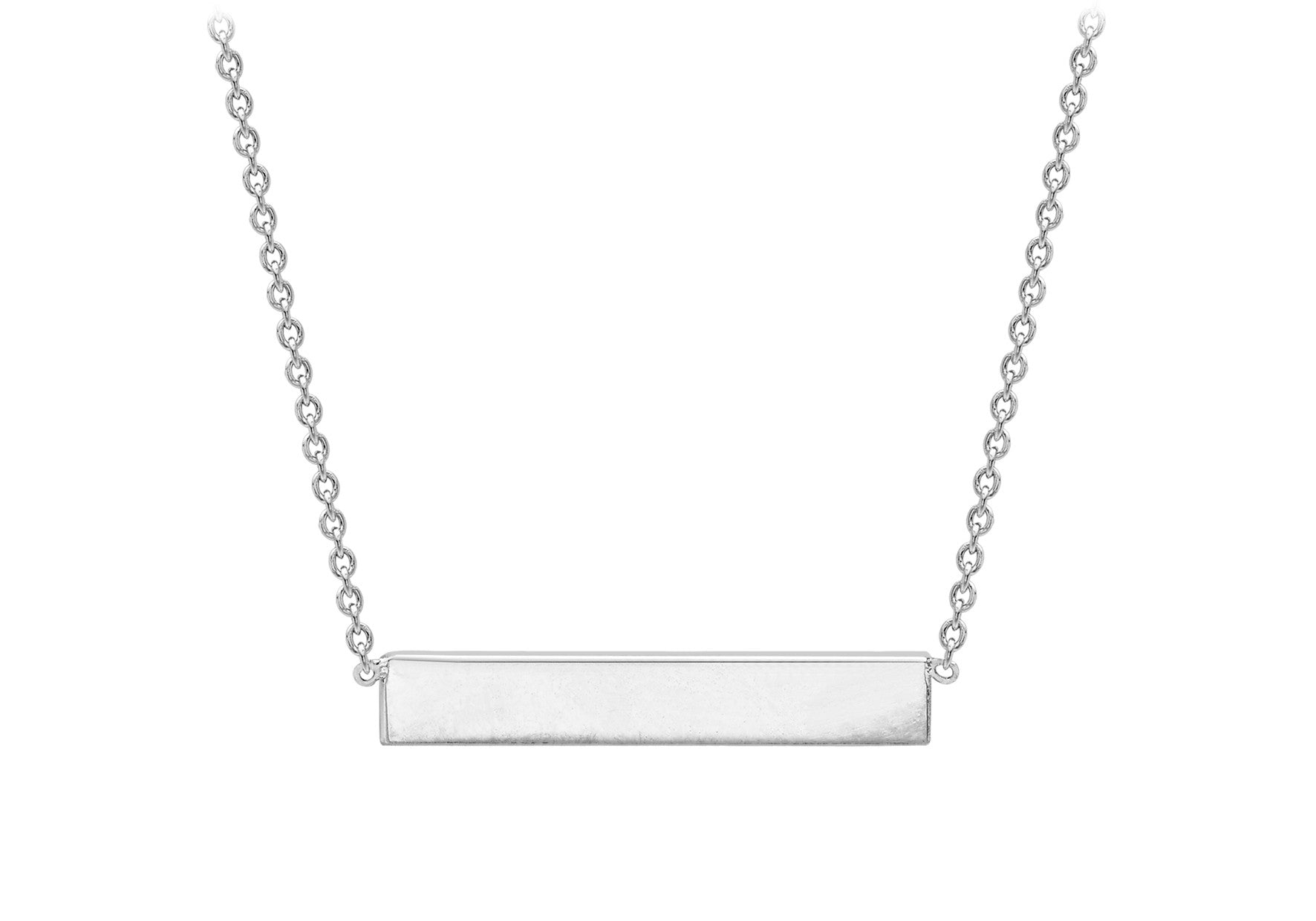 9ct White Gold Bar Necklace