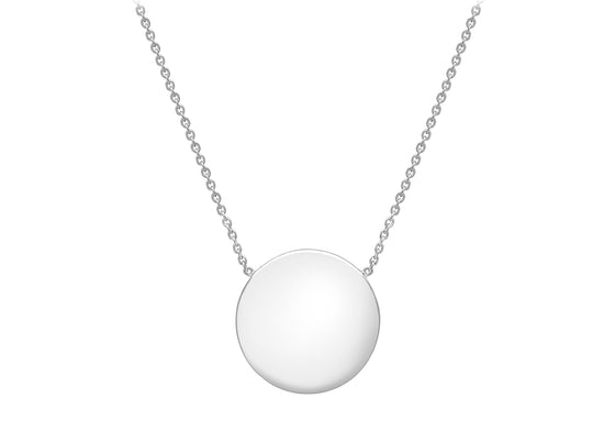 Sterling Silver Polished Disc Necklace