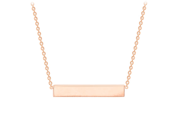 Rose Gold Plate Polished Bar Necklace