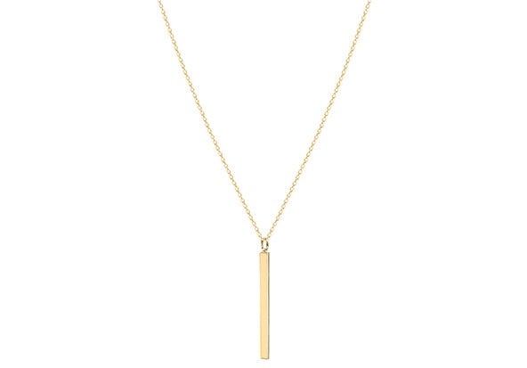 Gold Plate Long Polished Bar Necklace