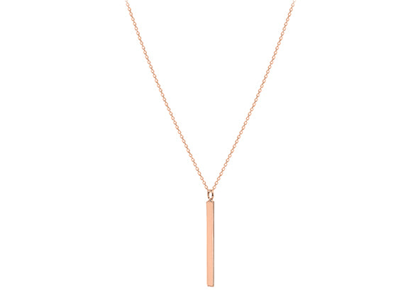 Rose Gold Plate Long Polished Bar Necklace