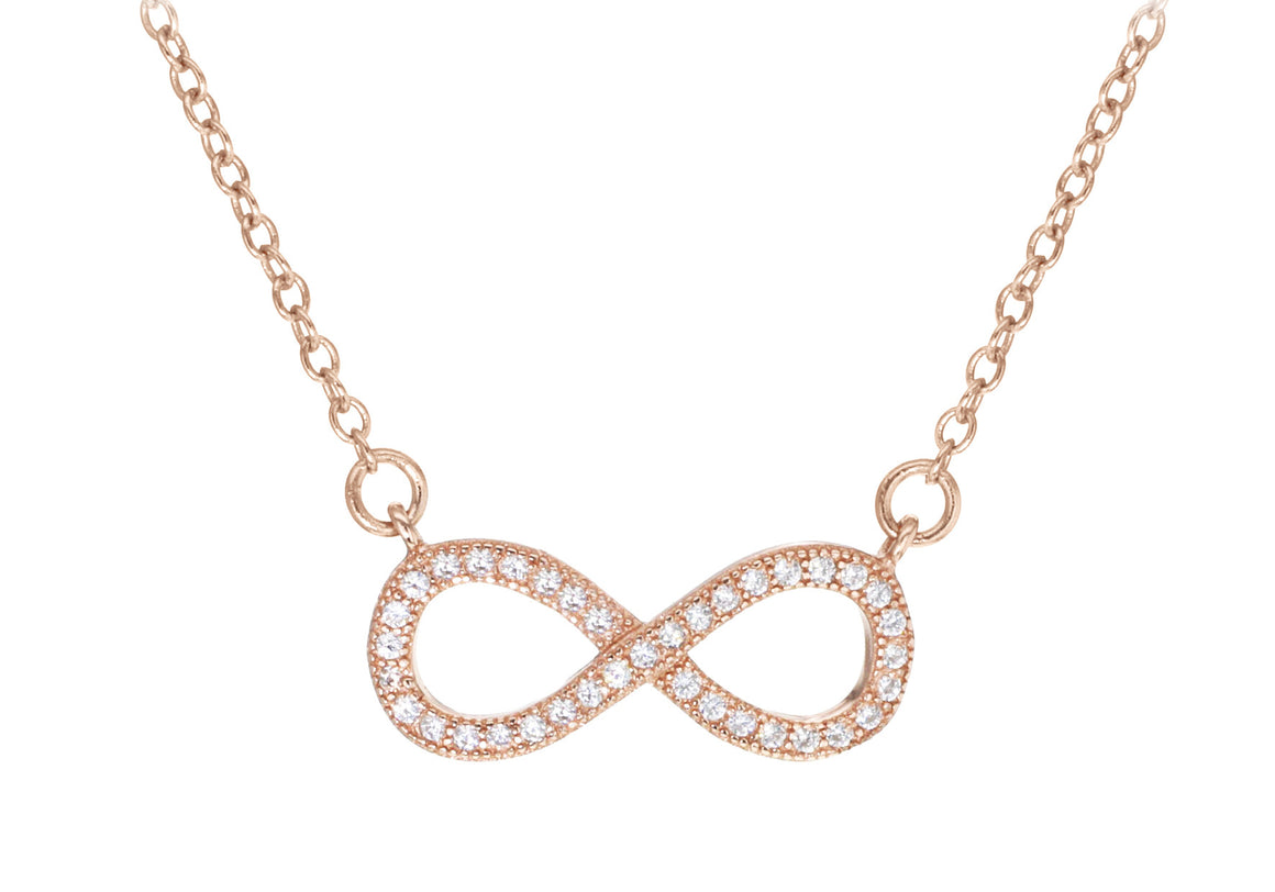 Rose Gold Plate CZ Infinity Necklace