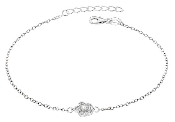 Sterling Silver Crystal Flower Bracelet