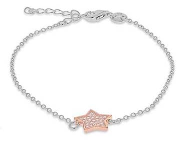 Silver and Rose Gold Crystal Star Bracelet