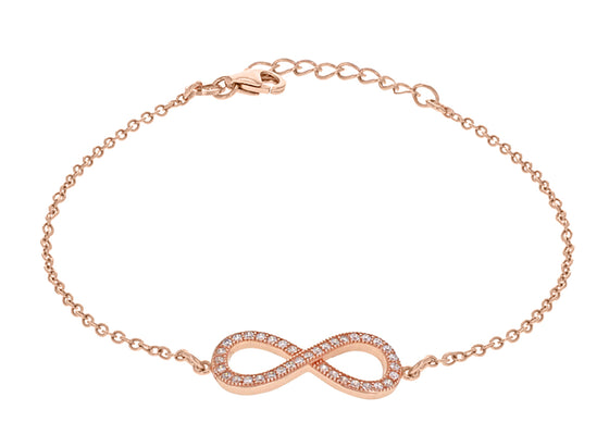 Rose Gold Plate Crystal Infinity Sign Bracelet