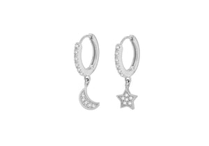 Star and Moon Silver Hoop Earrings