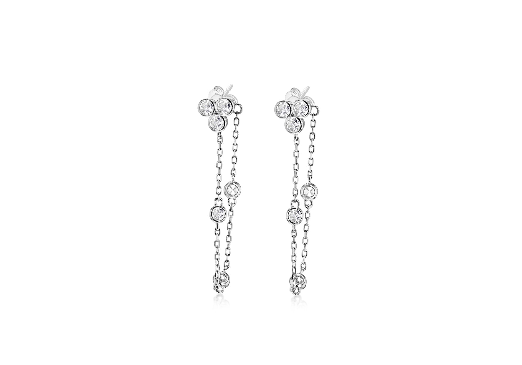 Crystal Flower Earrings with Hanging Crystal Chain