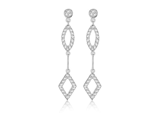 Sterling Silver Drop Shape Earring