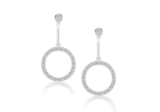 Sterling Silver Drop Open Circle Crystal Earrings