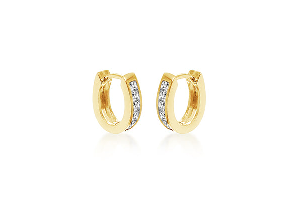 Yellow Gold Plate Crystal Hoop Earrings