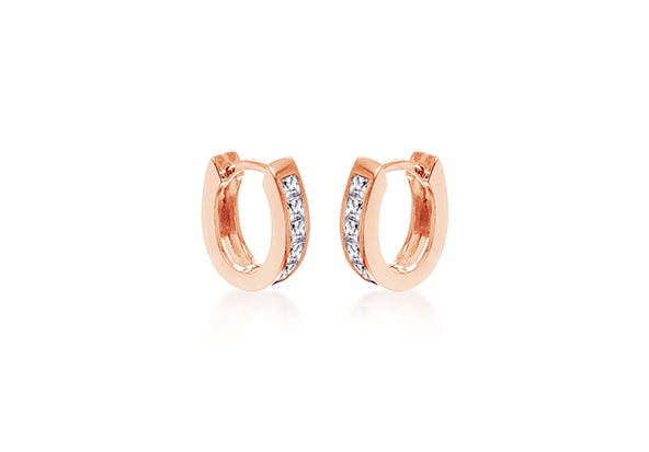 Rose Gold Plate Crystal Hoop Earrings