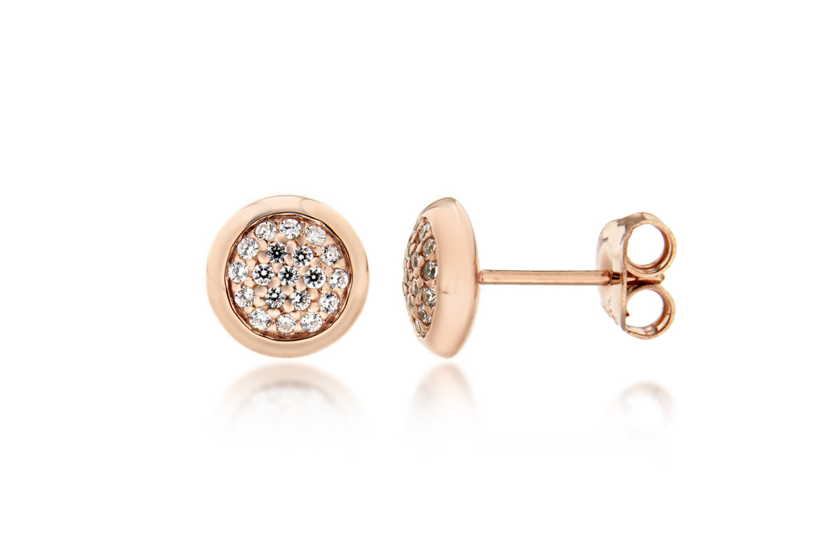 Rose Gold Plate Pave Crystal Disc Stud Earrings