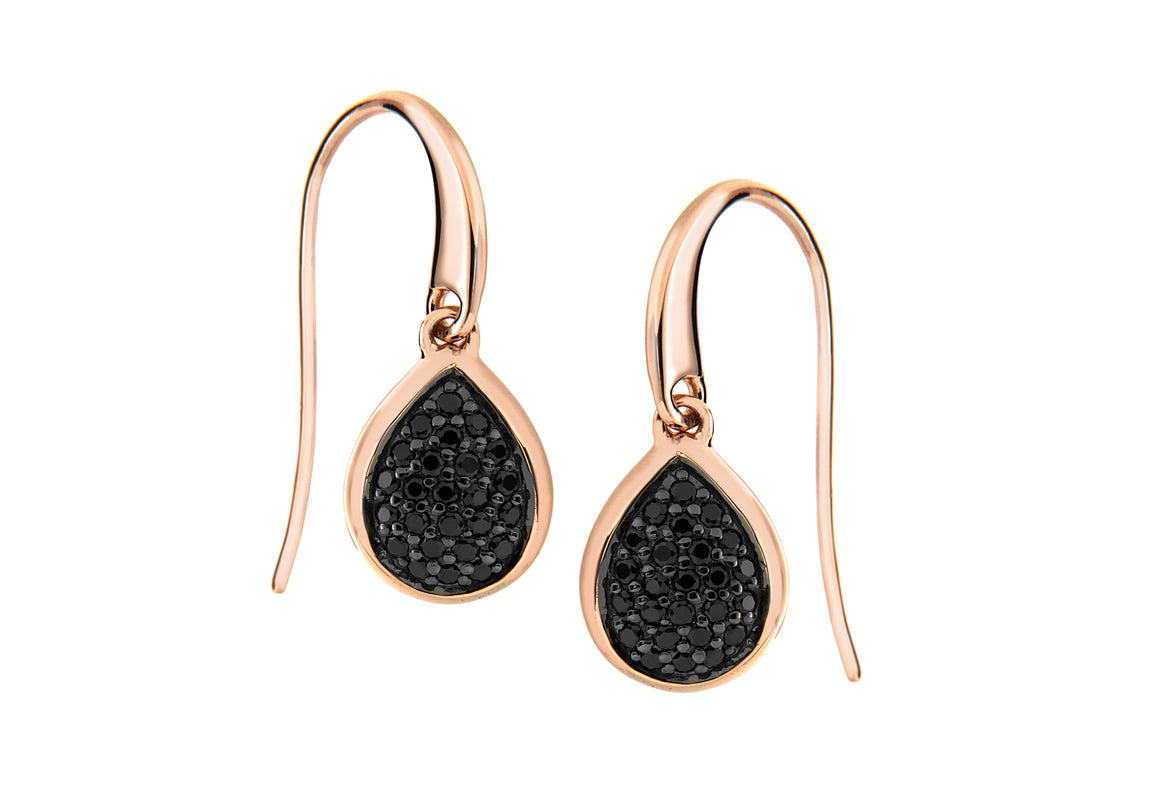 Rose Gold Plate Drop Pave set Black Teardrop Earrings