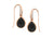 Rose Gold Plate Pear Shape Black CZ Drop Earrings