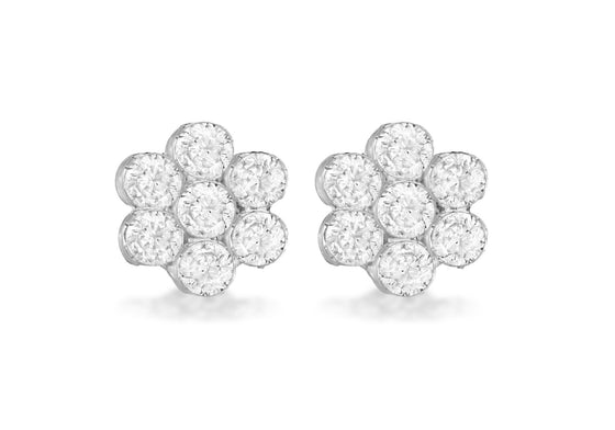 Sterling Silver Crystal Flower Stud