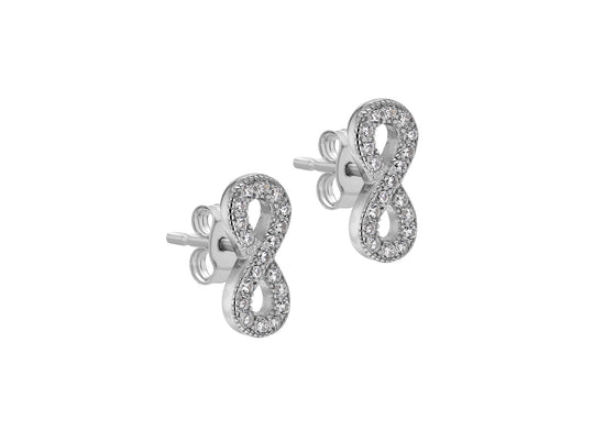 Sterling Silver Infinity Sign Stud Earrings