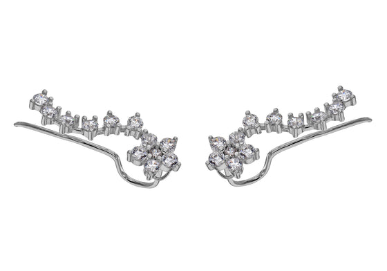 Sterling Silver Flower Crystal Ear Jackets